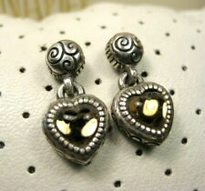 Vintage Sterling Silver & Gold Plated Brighton Heart Yellow Rhinestone Earrings