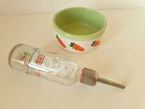 CERAMIC RABBIT FOOD BOWL + MATCHING GLASS WATER BOTTLE