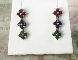 Pretty 9ct Yellow Gold Ruby, Sapphire & Emerald  Flower Drop Earrings ~ A8868