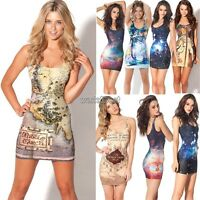 Fashion Sexy Women Space Galaxy top The Hobbit Middle Earth Map Short Mini Dress