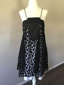 Espyr Black White Silk Blend Strap Dress Size 10 NWT