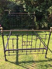 Original Antique Victorian heavy cast iron & brass double bed With Sprung Base