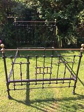 Original Antique Victorian heavy cast iron & brass double bed Stylish Slumber