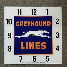 "*NEW* 15"" SQUARE GREYHOUND BUS LINES OIL GAS GLASS clock FACE FOR PAM"