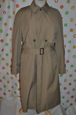 LONDON FOG Men 40 Reg brown all weather TRENCH COAT plaid liner BELTED USA EUC