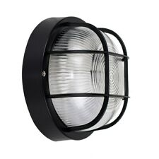More details for ip44 round black outdoor garden exterior security bulkhead wall light lights new