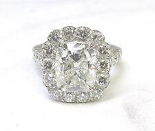 5 carat total, 3 ct Cushion cut Diamond GIA certified K SI2 18k white gold Ring
