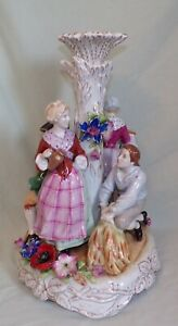 Very Large PMP Dresden Hand Painted Porcelain Figural Lamp Base Centerpiece