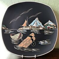 1950s Mid Century Modern Arnold Wiigs Fabrikker Pottery Norway Røst Wall Plate