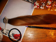 "Girls 100% real human virgin pony tail hair ooak collectible doll wig 15"" w/pull"