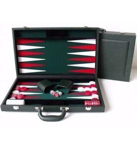 Dal Rossi Luxury 15″ 38 cm Green PU Leather Backgammon Set NEW!