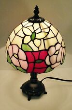 "Tiffany style stained glass 14""table lamp butterfly / moth with flowers"