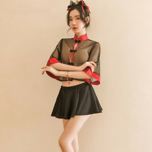Womens Sexy Cheongsam Sheer See-through Set Uniform Glamour Party Qipao Clubwear