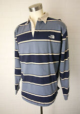 Mens The North Face A5 Series Blue Stripe Rugby Polo Long Sleeve shirt sz L