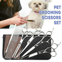 7'' Pet Dog Cat Grooming Scissors Hair Cutting Set Straight Curved Shears