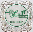Vintage glass ashtray LEOS TV SALES and SERVICE lion pictured Pekin Illinois photo