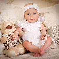 Baby Girl Christening Baptism Dress Newborn Girl Dress White Baby Girl Bodysuit