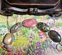 Retro Vint Taxco Mexic? Chunk Multi Gemstone 925 Sterling  Bracelet 64g Pink 173