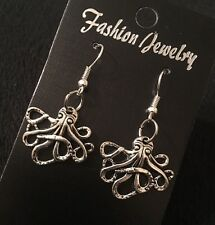 Octopus Earrings Silver Charm Animal Unusual Steampunk Kraken Squid Rockabilly