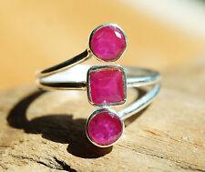 Silberring Rubin 59 Handarbeit Breit Pink Silber Ring Modern Schlicht Rot Echt