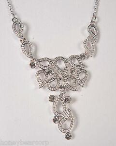 New Avon CRYSTAL PAISLEY Diamond Necklace & Earrings GIFT SET Gorgeous Boxed Set