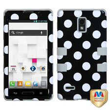 For T-Mobile LG Optimus L9 P769 IMPACT TUFF HYBRID Case Cover Black Dots Grey