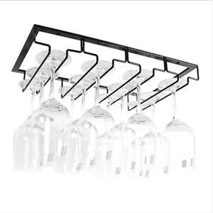 Iron Wine Glass Rack Under Cabinet Stemware Wine Glass Holder Hanger Storage