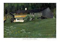 Bergbauernhof XL Kunstdruck 1912 von Adolf Holzer Bauernhof Alm Alp Alpe Berge