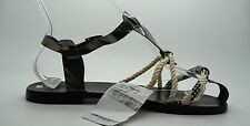 OSKLEN Metallic Silver Rope Detail Strappy T Strap Flat Sandals Shoes Sz 9 NEW