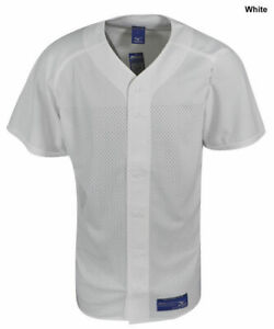 New Mizuno Mens Small White Mesh Full Button Baseball Jersey