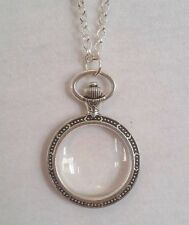 Magnifying Glass Statement Necklace pendant watch silver chain long adjust fine