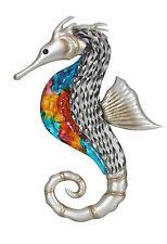 Colourful Seahorse Metal Wall Art Beach Coastal 43cm Seahorse Hanging Sculpture