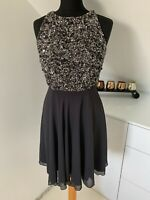 RRP 150$ Lace & Beads Short Party Cocktail Gray Dress Embellished Sequins  XS