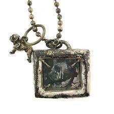 Sterling Silver Bulldog Picture Frame & Charm Long Designer Necklace