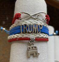 Trump Bracelet, Women's Donald Trump Charm Jewelry, Republican Gift, MAGA, Flag