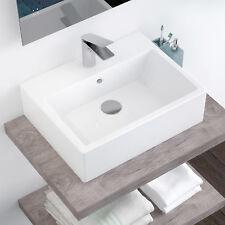 Lavandino d'appoggio 58 x 46 cm in ceramica bianco lucido monoforo moderno