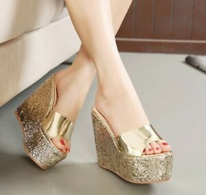 Womens Patent Leather Glitter Sequin Open Toe Slippers High Wedge Platform Shoes