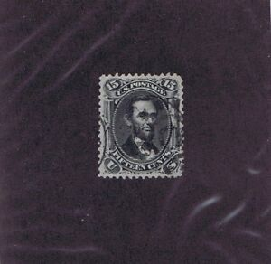 SC# 77 USED 15c LINCOLN, 1866, PARTIAL CANCELS, PSAG CERT GRADED XF 90 WOW