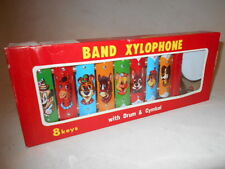 Vtg 1960's Taiyo Japan Tin Toy Xylophone Band Drum & Cymbol Excellent Unused