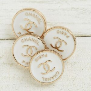 Chanel Buttons 4pc CC White & Gold Paris 14.5mm 4 Buttons unstamped AUTH!!!