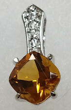 Nature's Jewelry Citrine CZ And Silverplated Pendant 24in