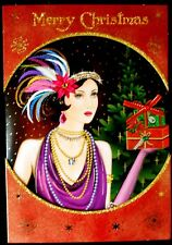 Christmas Cards Art Deco Girl With Gift Hand Made Tulip Studios