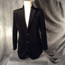 Black Crushed Velvet Men's Sports Coat with 2 button front