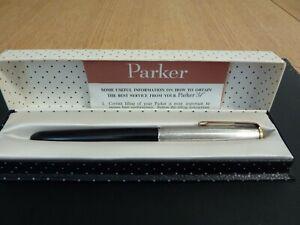 Vintage Parker 51 Founbtain Pen Black with Steel Lid & Gold Trim