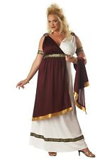Roman Empress Costume 3 Pc Burg /White Goddess Dress & Arm Cuffs Plus Size