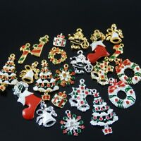 15pcs Mix Christmas Socking Gift Enamel Decoration Charms Pendant Jewelry 38922