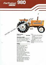 Fiat 980 tractor 4 pg leaflet /Brochure 1981?