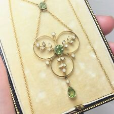 Antique 9ct Gold Peridot Seed Pearl Trefoil Necklace Top Quality + Original Box
