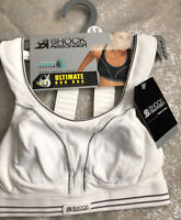 bnwt SHOCK ABSORBER ULTIMATE RUN SPORTS BRA UK 30A WHITE BOUNCE CONTROL KEEP DRY