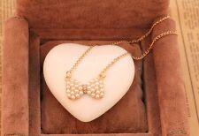 Collier pendentif noeud avec perles blanches IDÉE CADEAU NOËL